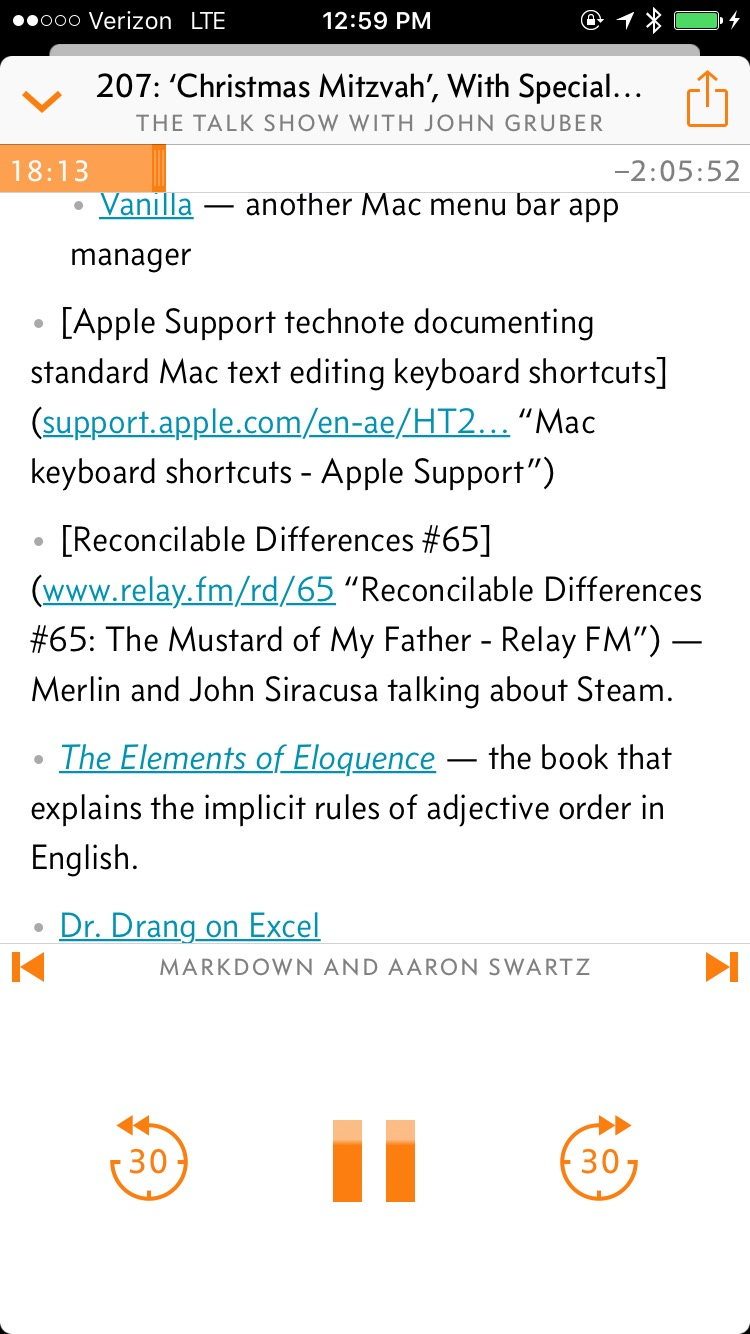 Show notes for The Talk Show 207 showing raw markdown.